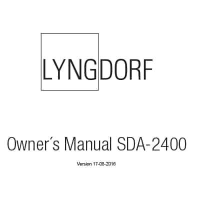 Lyngdorf SDA-2400 owner's manual (5 languages)
