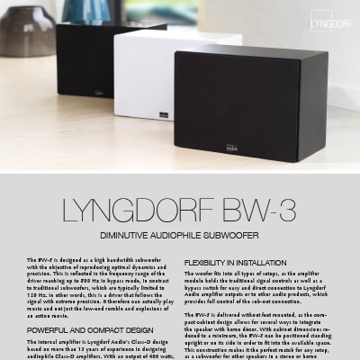Lyngdorf BW-3 fact sheet