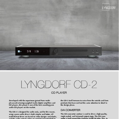 Lyngdorf CD-2 fact sheet