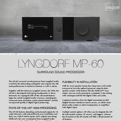 Lyngdorf MP-60 fact sheet
