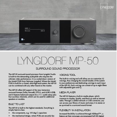 Lyngdorf MP-50 fact sheet