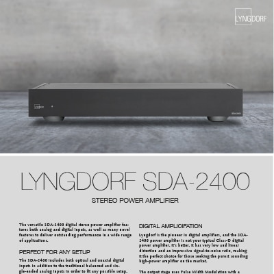 Lyngdorf SDA-2400 fact sheet